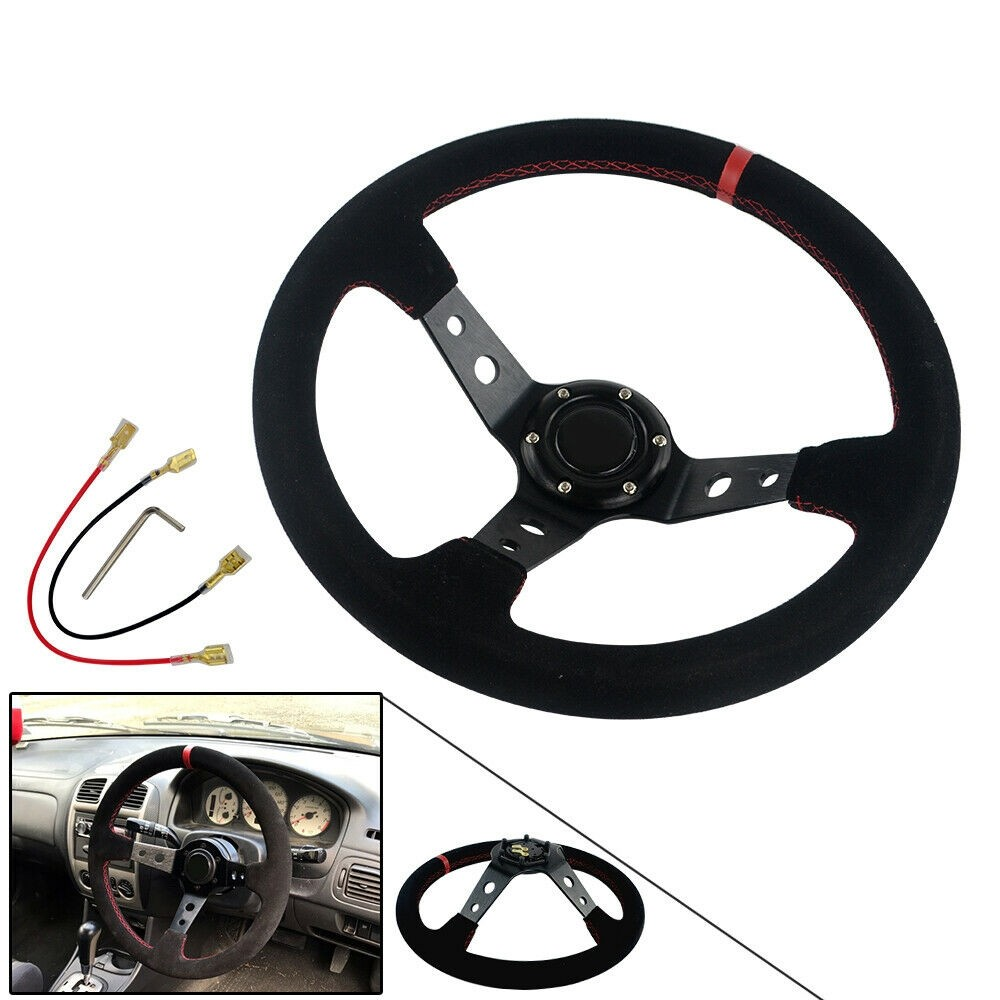 Drifting 350mm Suede Leather Deep Dish Steering Wheel New Style